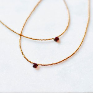 bronze gold necklace red garnet choker